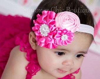 Valentine headband, Shades of Pink Baby Headband, Infant Headband, Newborn Headband, Baby Headband, Toddler Headband, , Headbands