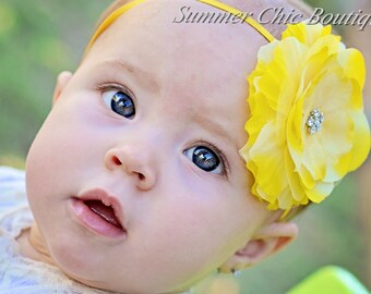 Bright Yellow Flower Headband - Baby Headband- Infant Headband - Toddler Headband - Girls Headband - Bright Yellow Flower  on Skinny Elastic