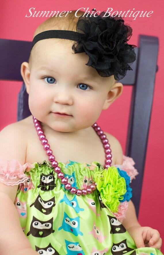 Black Flower Baby Headband  4 Chiffon Flower on Black Elastic Headband  58 FOE Elastic