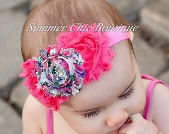 Baby Headband, Infant Headband, Newborn Headband, Toddler Headband, Shabby Chic Headband , Bright Pink Headband