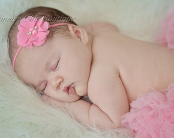Pink baby headband, Infant Headband, Newborn Headband, Toddler Headband, Pink Chiffon flower Headband