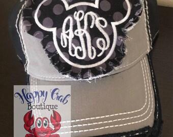 9efdac9216213 2019 Ladies raggy patch Monogrammed Chevron Charcoal black baseball cap  black Hats by Happy Crab Boutique