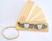 Rhinestone Address Book Keychain Vintage Jeweled Flower Key Chain w Lucite Mother of Pearl Hearts