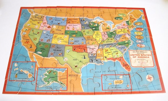 Authentic World Map.United States World Map Puzzle Vintage Complete 1975 Etsy