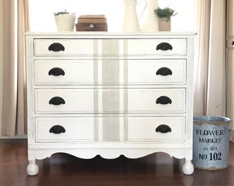 Farmhouse Furniture White Painted Dresser Grain Sack Shabby Chic Decor Annie Sloan Chalk Paint Fixer Upper Swoon Vintage Such