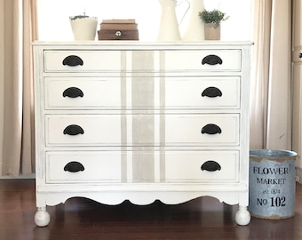 White Painted Dresser . Grain Sack . Shabby Chic Decor . Annie Sloan Chalk  Paint . Fixer Upper . Swoon Vintage U0026 Such