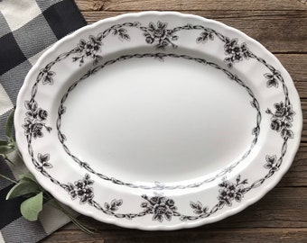 Black And White Farmhouse Kitchen Decor Dishes Floral Scalloped Edge Ironstone Transfer Ware Platter Waverly Garden Room