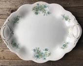 Vintage Ironstone Platter . Shabby Chic Beach Cottage Decor . Antique Blue Transfer Ware . Scalloped Edge Platter . Kitchen Decor