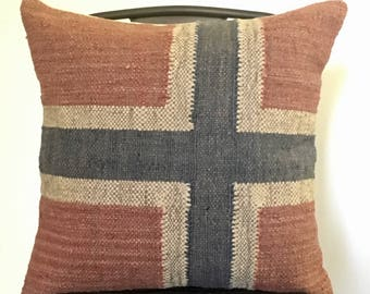 Rustic Farmhouse Decor . Red & Blue Burlap Pillow w/ Feather Insert . Barn Decor . Industrial Farmhouse . Norway Norwegian Flag Union Jack