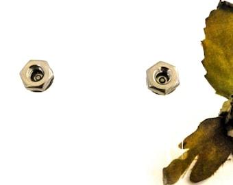 Mens Stud Earrings, Minimalist Silver Earrings for Her, Industrial Geometric Earrings, Unique Gift for Husband, Boyfriend, Wife, Girlfriend