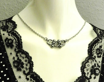 O Ring Day Collar Woven Chainmaille Subtle BDSM,  Stainless Steel DDLG Choker 24/7 Wear, Gift for Submissive Bride, Unnique Gift for Sub