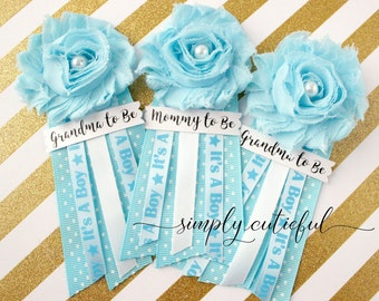 Blue Baby Shower Corsage Pin with Mommy to Be, Grandma to Be, and Custom Tags and It's a Boy Baby Shower Ribbon
