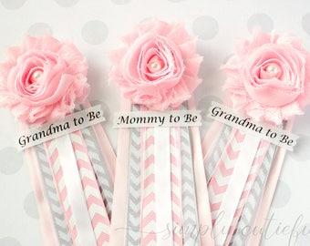 Pink Grey Chevron Baby Shower Corsage Pin with Mommy to Be Grandma to Be and Custom Tag Badge