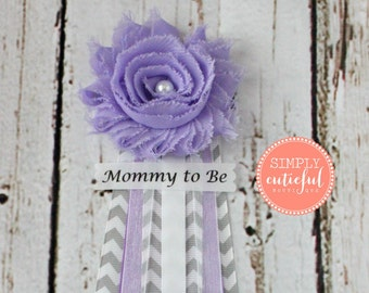 SALE Lavender Gray Chevron Baby Shower Corsage  with Mommy to Be Grandma to Be and Custom Pins Badge