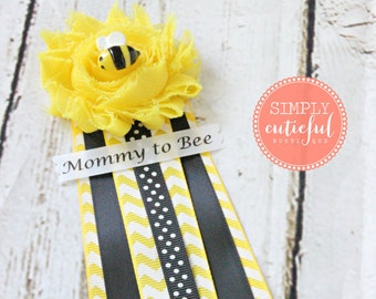 Yellow Bumble Bee Baby Shower Corsage Pin with Mommy to Bee, Grandma to Bee, and other Custom Tags for Bee Baby Shower