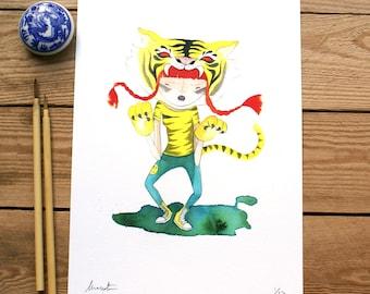 ART PRINT // animalario tigre // ilustracion acuarela