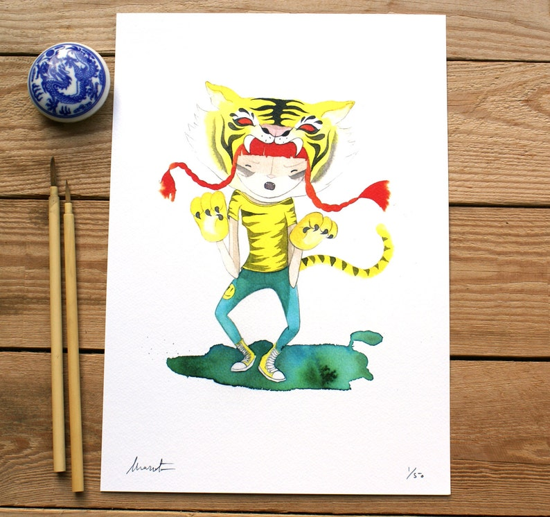 ART PRINTS // Tiger animalario // illustration watercolor image 0