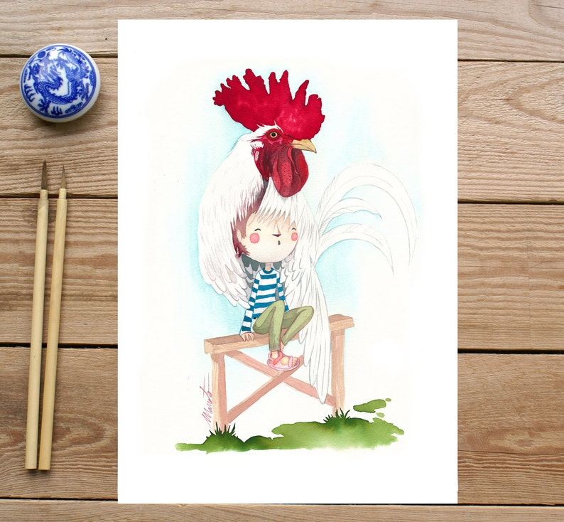 ART PRINTS // rooster child // illustration watercolor image 0