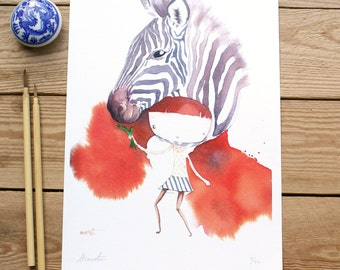 ART PRINT // animalario cebra // ilustracion acuarela