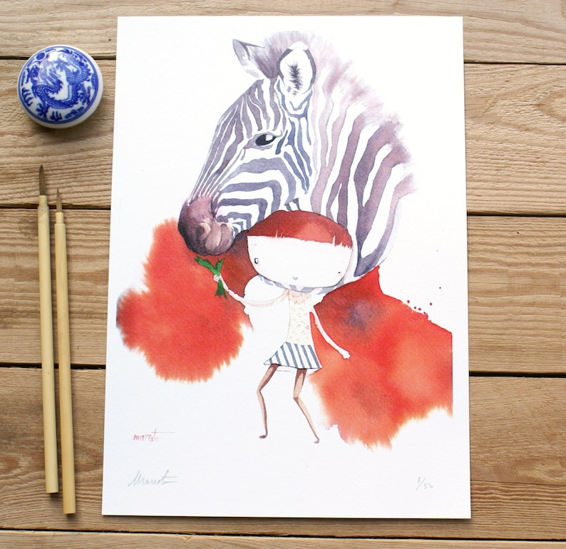 ART PRINTS// zebra animalario // illustration watercolor image 0