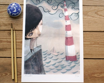 ART PRINT // niño faro // ilustracion acuarela