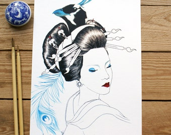 ART PRINT // Geisha Ave // ilutracion