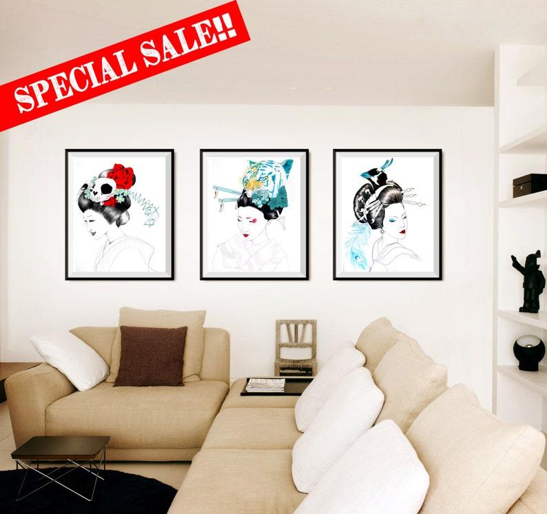 ART PRINTS//Special Sale //three illustration//tiger image 0