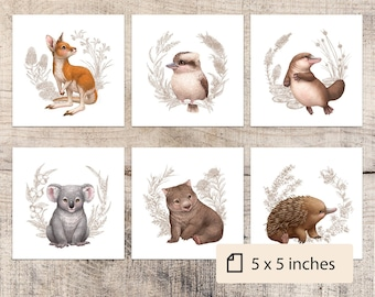 "Australian Animals | Australian Nursery Decor | Nursery Wall Art | Baby Animal Prints | Wombat | Echidna | SEPIA | 5"" x 5"" | SET OF 6 |"