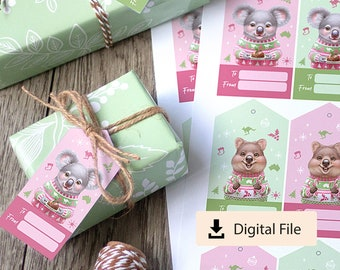 Australian Animal Christmas Gift Tags, Illustrated Printable Tags, Aussie Animals, Fun Aussie Christmas, Swing Tags, Digital Download