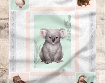 Australian Fabric | Koala Fabric Panel | Cute Baby Quilt Panel | 100% Cotton Quilting Fabric | Australian Animal Print | 1 Panel