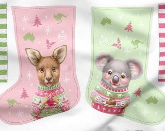 Australian Christmas Fabric | Australian Christmas Gift | Cut n Sew Stocking Panel  | 100% Quilting Cotton Fabric