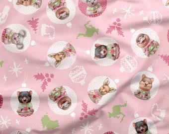 Australian Christmas Fabric | Australian Cute Animal Fabric | 100% Quilting Cotton | Pink | 50cm