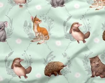 Australian Fabric | Australian Animal Fabric | Cute Baby Animal Fabric | 100% Cotton Quilting Fabric | Animal Print | Mint | 50cm