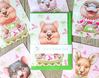 Australian Animal Christmas Card Set of 5 | Pack of 5 Greeting Cards | Cute Aussie Animal Cards | A6 Size
