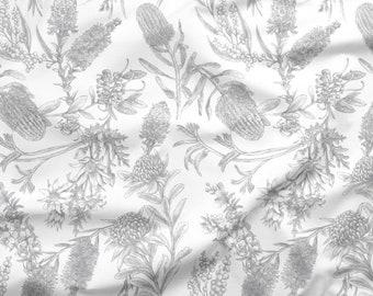 Australian Flower Fabric | Australian Botanical Print | Bottlebrush Waratah | Australian Native | 100% Quilting Cotton | 50cm