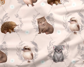 Australian Fabric | Australian Animal Fabric | Cute Baby Animal Fabric | 100% Cotton Quilting Fabric | Animal Print | Peach | 50cm