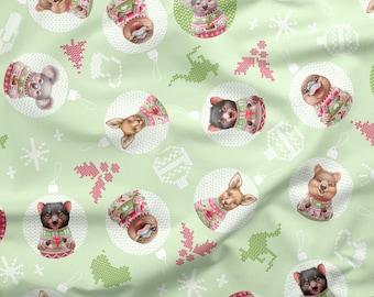 Australian Christmas Fabric | Australian Cute Animal Fabric | 100% Quilting Cotton | Green | 50cm