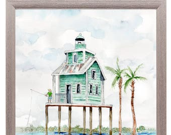 Rustic beach house watercolor painting, Coastal house decor, lake, pond,  Print of original watercolor painting, Office wall art, blue decor