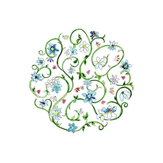 small floral print pattern wall art, original zentangle wall art print,  simple pattern watercolor artwork, blue floral wall decor, blue art
