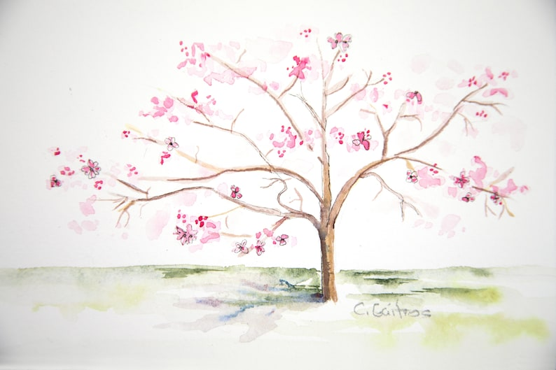 Original Wall Art Original Watercolor Painting Flowering Southern Dogwood Tree Watercolor Artwork Simple Art Simple Tree Cherry Tree