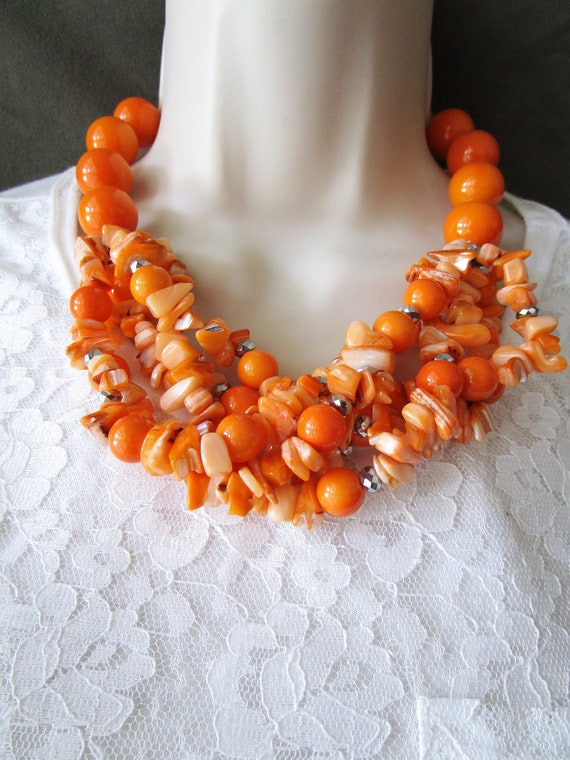 Coral and Agate Long Necklace Fall Colors Necklace Carved Black Coral Faceted Dyed Agate and Black Glass Beads Long Statement Necklace