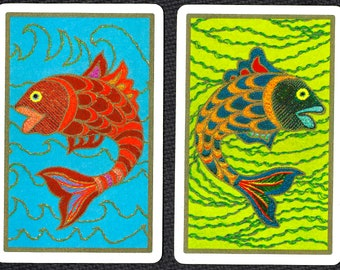 2 Vintage 1960s Colorful Fish Swap Cards Playing Cards Crafts Altered Art Assemblage Collage Scrapbooking