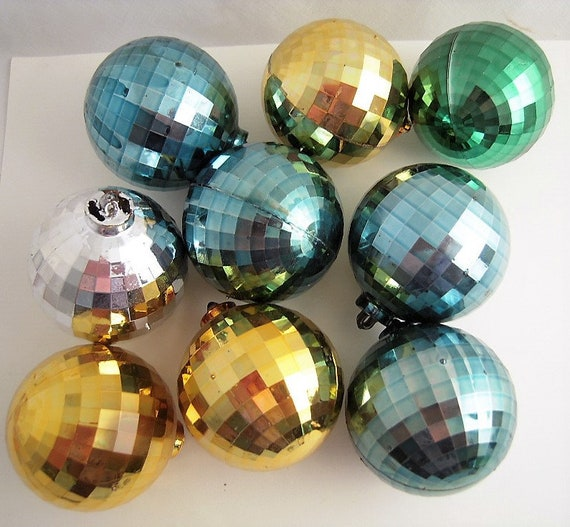 9 Vintage Plastic Christmas Ornaments Faceted Disco Mirror Balls Christmas Tree Ornaments Decorations