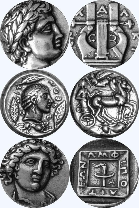 Set Of 3 Coins APOLLO Greek God The Sun Son Zeus