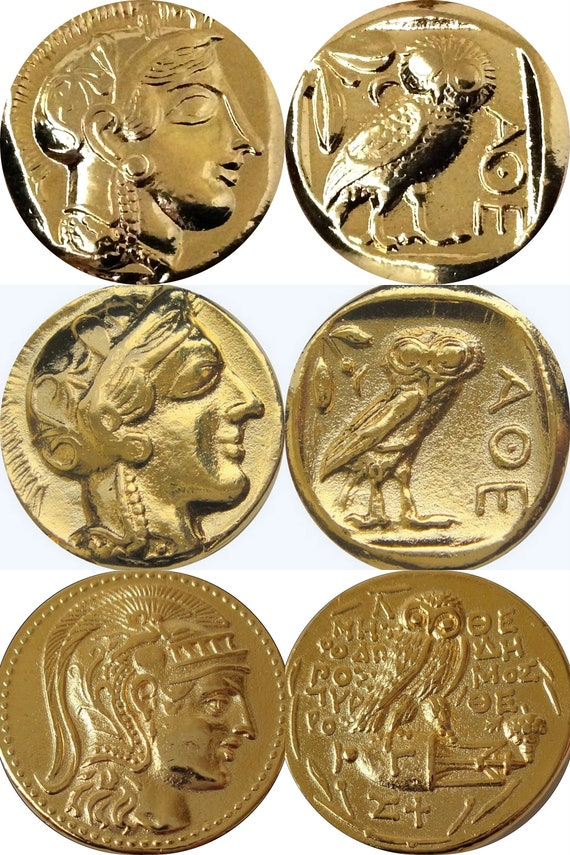 3 Versions of Famous Greek Coins Percy Jackson Fans Athena /& Owl 3ATHOWL-G