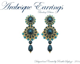Beading Pattern Arabesque Earrings - Pdf file Only for personal use