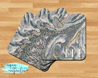 Personalized Coasters - Marble Design - Square Hardboard Coasters - Monogrammed Coasters - Bar Coasters - Green & Gray - Housewarming