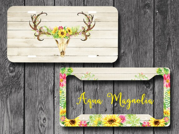 Sunflowers License Plate Personalized Deer Antlers License