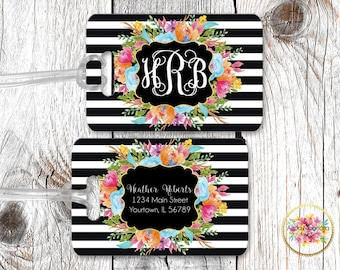 Vibrant Watercolor Flowers - Black & White Stripes - Personalized - Luggage Tag - Monogrammed - Travel Accessories - Bag Tag