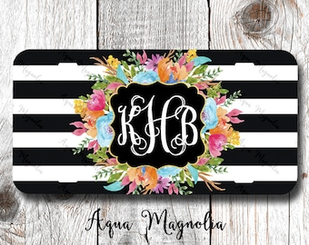 Vibrant Watercolor Flowers - Black & White Stripes - License Plate - License Plate Frame - Personalized - Floral Car Tag